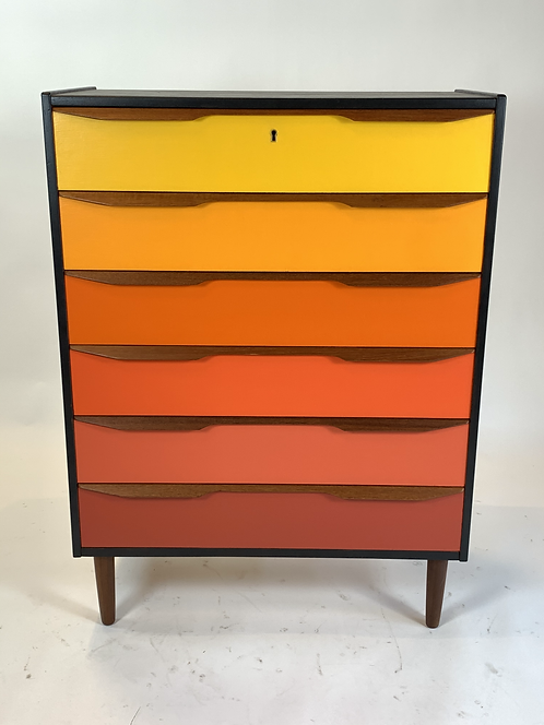 Danish Teak Dresser with Ombre Drawers andBlack Case