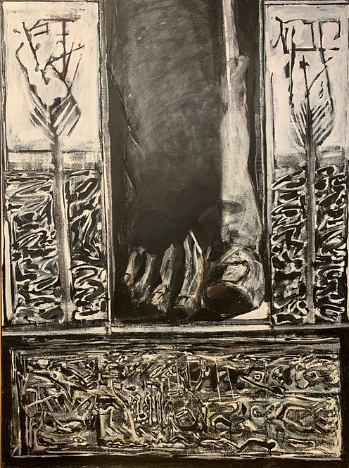 "Martin Facey painting ""Foot, Palm, and Crypt"" ca 1979"