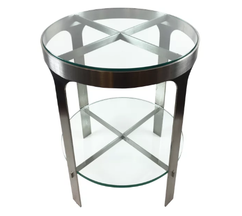 Stainless / Glass End Table
