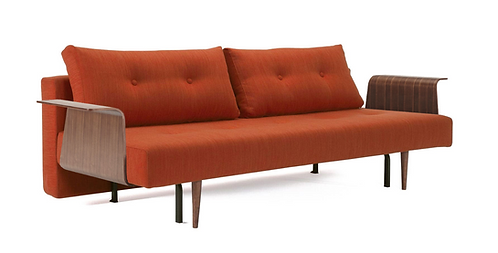 Recast Plus Sofa Bed w/Walnut Arms by Innovation (Queen)- Fabric Shown in Stock