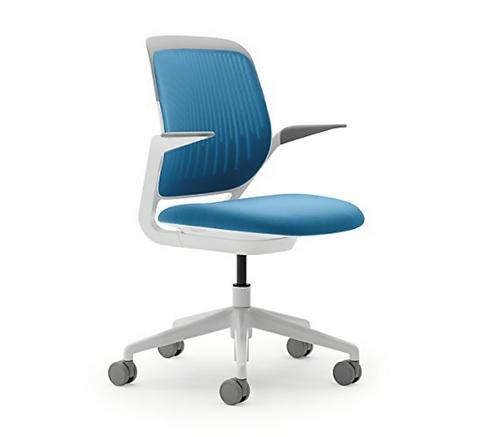 Steelcase Cobi Task Chair in Orange, blue, grey with white frame/base