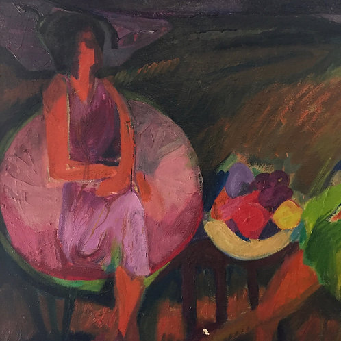 Woman with Fruit Painting By Katherine Barieau