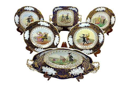 1820s Antique Hand Painted New Hall China Comedic Story Plates