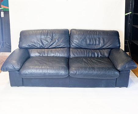 Blue Leather Roche Bobois Leather Sofa