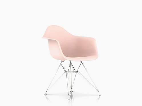 Pair of Pink Eames Plastic Armshell Chairs for Herman Miller