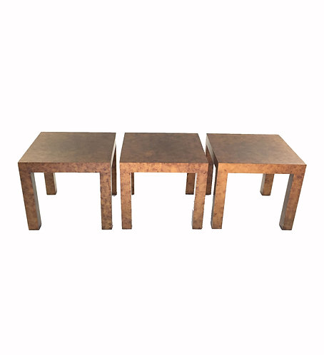 Trio of Burl Wood End Tables by Milo Baughman for Thayer Coggin