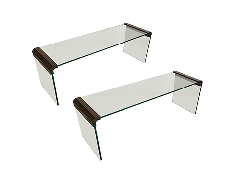 Pair of Modernist Tempered Glass Benches with Bronze Mounts