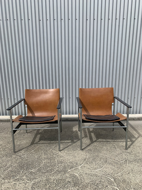 Vintage Charles Pollock for Knoll Lounge Chairs, a Pair