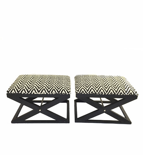 Pair of Black Brownstone Chevron Benches