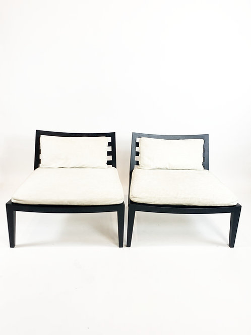 Flexform Lounge Chairs with Ebonized Oak Frame, Italy ca 2010