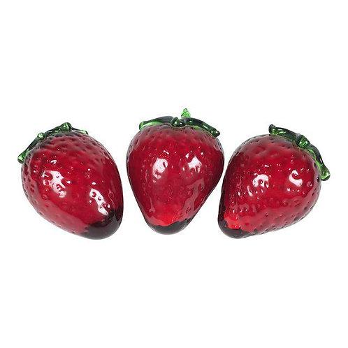 Murano Glass Strawberries Figurines - Set of 3