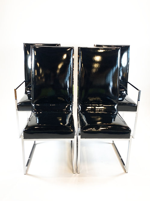Patent Vinyl and Chrome Chairs by Milo Baughman