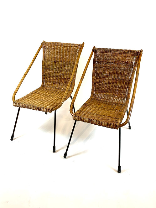 Vintage French Caned Lounge Chairs