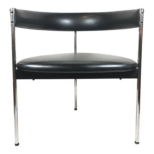 Mid Century German Steel Occasional Chair With Black Leather