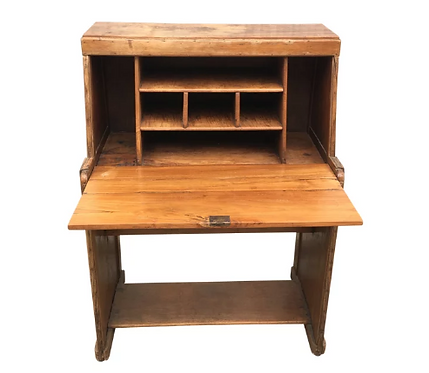 Vintage Teak Desk With Flip Up Top