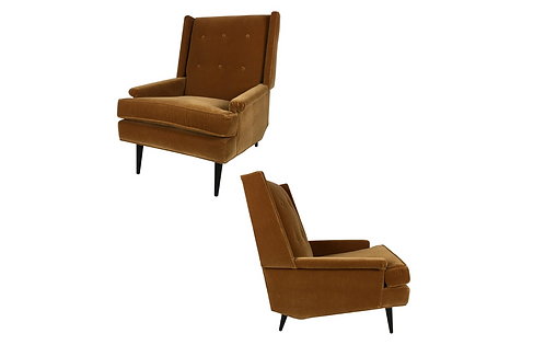 Pair of Modernist Wing Chairs by Karpen of California