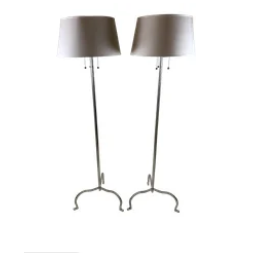 Chromed Rustic Iron Floor Lamps by Arteriors - A Pair