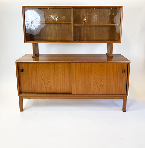 Danish Modern Teak Credenza with floating China Cabinet