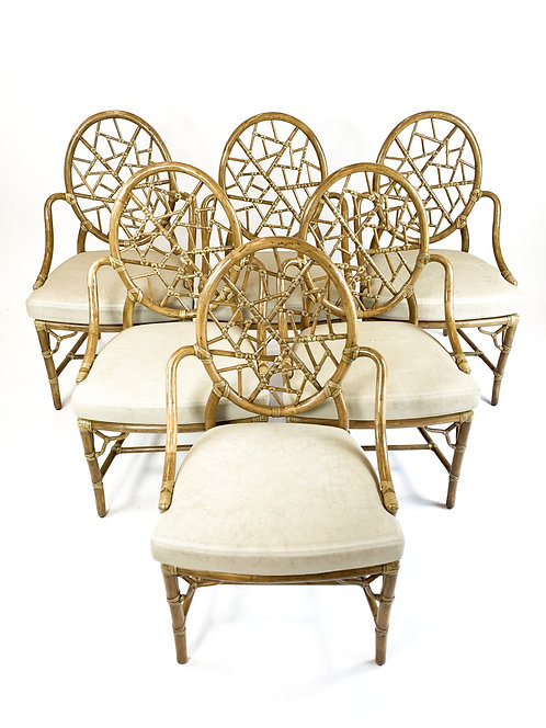 McGuire Rattan Gothic Chairs with Cracked Ice Backs