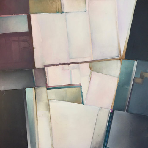 1980s Rosalee Lang Oil Abstract on Canvas Painting