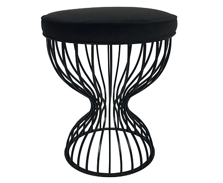 Hourglass Form Stool with Velvet Seat
