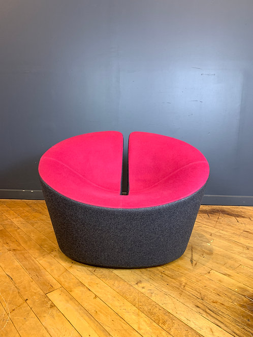 Hightower Lounge Chair in Magenta and Grey Felted Wool