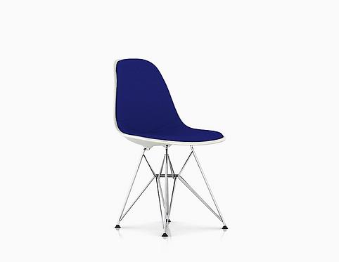 Eames Upholstered Side Chair Nave/White, Eiffel Base. Herman Miller