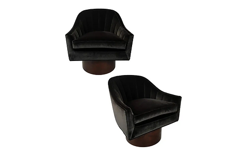 Pair of Velvet Swivel Chairs by Harvey Probber