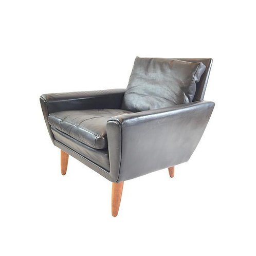Georg Thams Black Leather & Rosewood Lounge Chair