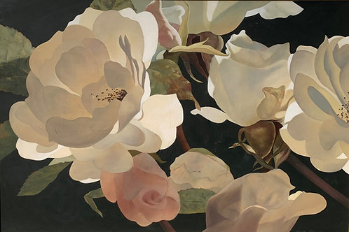 Diptych or Two paintings by Weston Rose, of Roses