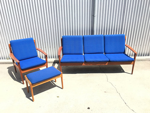 Danish Teak Sofa and Chair with Ottoman by Grete Jalk