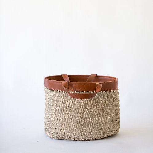 Knotted String Basket with Leather