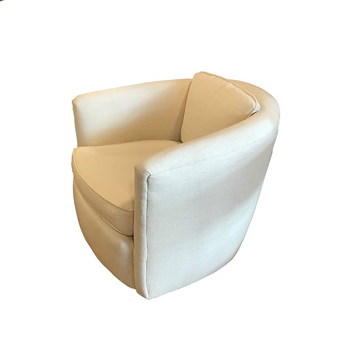 Milo Baughman Swivel Chairs in Cream Belgian Linen