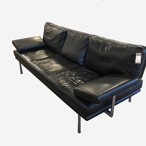 "Black Leather Walter Knoll ""Living Platform"" Sofa"