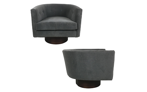 Pair of Velvet Slipper Chairs by Milo Baughman for Thayer Coggin