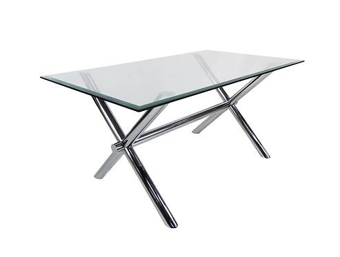 Italian Chrome X-Base Trestle Dining Table or Writing Desk