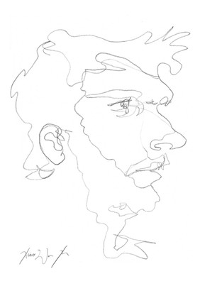 A Blind Contour Drawing of a Man, 2013
