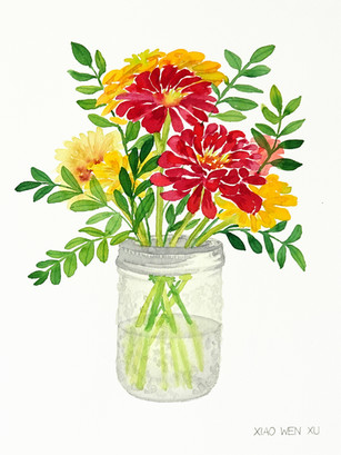 Zinnia Bouquet in Glass Jar III, 2021