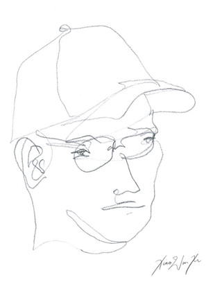 A Blind Contour Drawing of a Man with a Hat, 2013