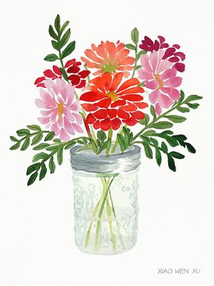 Zinnia Bouquet in Glass Jar, 2021