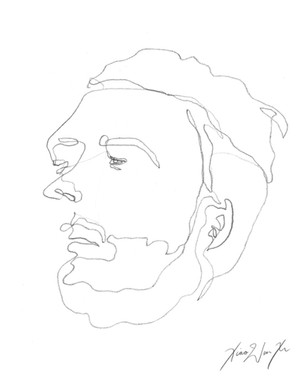 A Blind Contour Drawing of a Man Sleeping, 2013