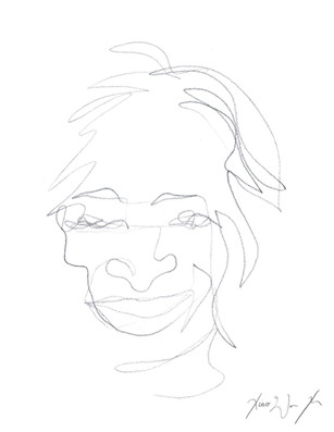A Blind Contour Drawing of a Man Smiling, 2013