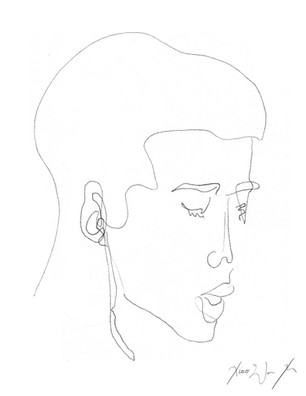 A Blind Contour Drawing of a Young Man Listening to Music, 2013