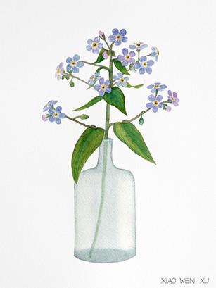 Forget Me Nots Bouquet in Vase, 2021