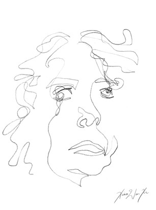 A Blind Contour Drawing of a Scared Woman, 2013
