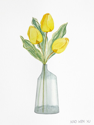Yellow Tulip Bouquet in Vase, 2021