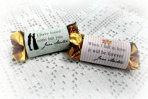 Printable Jane Austen Bridal Shower Mini Chocolate Bar Wrappers