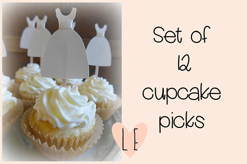 Wedding Dress Cupcake Picks