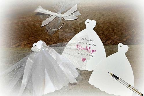 Wedding Dress Bridal Shower Advice Tag Book