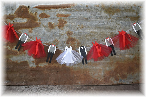 Wedding Party Banner with Bride, Groom, Bridesmaids, and Groomsmen